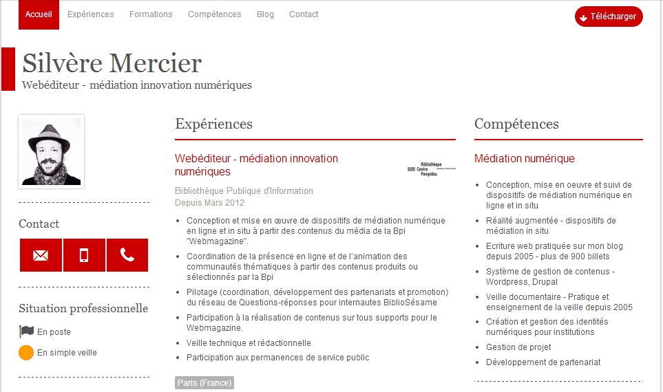 000196Silvère Mercier - CV - Webéditeur - médiation innovation numériques