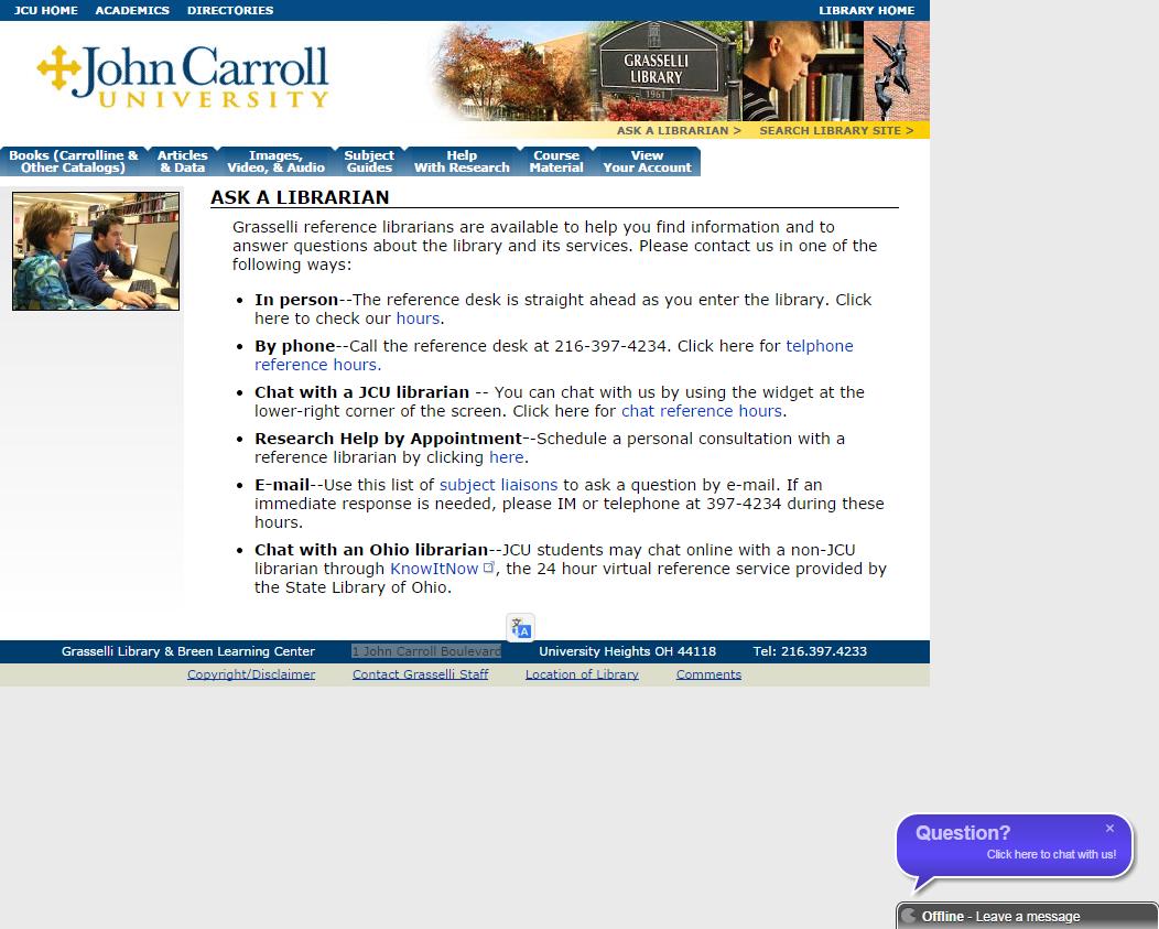 Página web de la Universidad John Carrol en la que aparece una ventana de mensajería automática