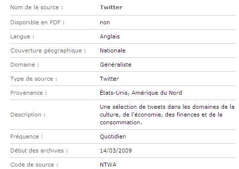Sélection de tweets en anglais dans les domaines de la culture, de